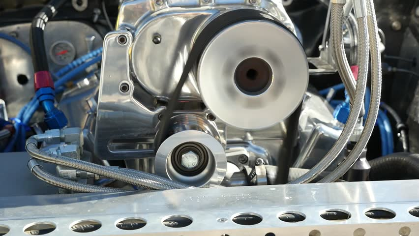 Close up of a race car engine