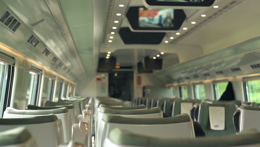 Empty train wagon during ride, super slow motion, shot at 240fps    Shutterstock HD Video #12911675