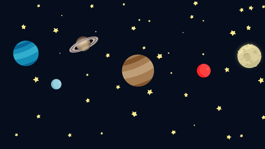 Stock Video Clip Of Cartoon Planets In Space With Easy
