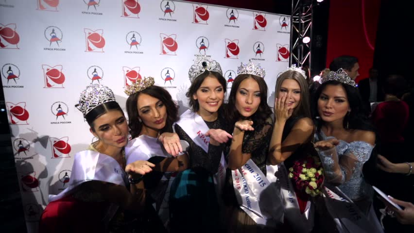 """MOSCOW, RUSSIA - NOVEMBER 18, 2015: Beauty contest winners in various categories send kisses to cameras. An annual national pageant  """"Krasa Rossii"""" (The Beauty of Russia)."""