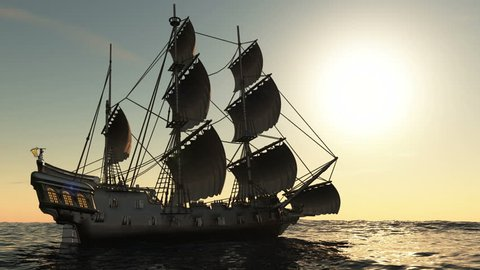 3D illustration of a sailing boat