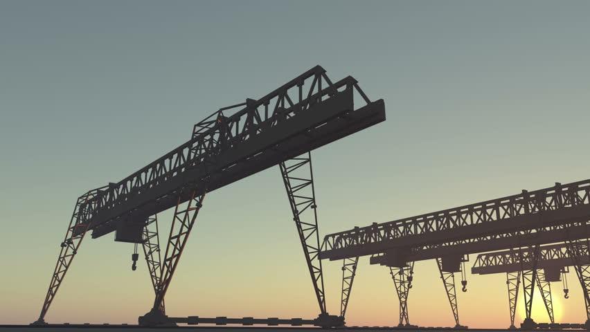 4k Camera motion view of Industrial working crane bridge. cg_03187_4k