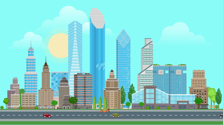 City Skyline And Street With Cars, Loopable Flat Animation ...