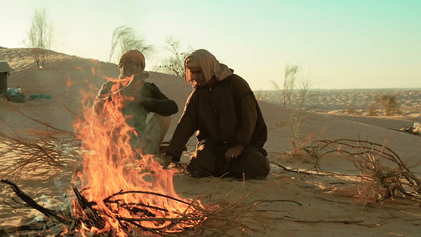 sahara men near a fire