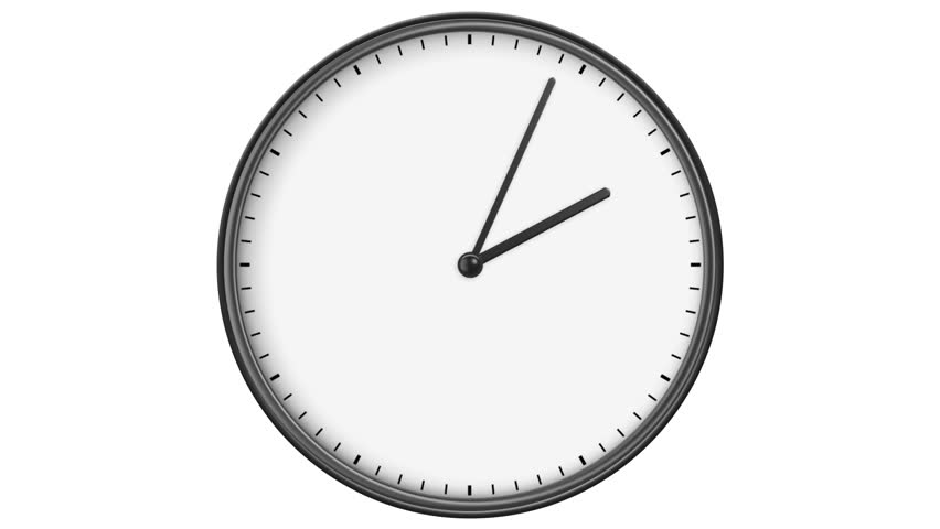 Animated Clock Showing The Five Minutes To Twelve In Time Lapse ...
