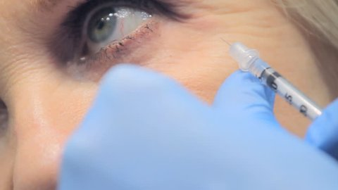 Botox injection in a clinic. Close up of Botox Treatment