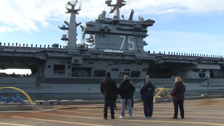 USA Virgina Norfolk, November 2015, Full Shot Of Carrier USS Harry Truman Soldiers Formation Deck Person In Front Carrier Drive Out