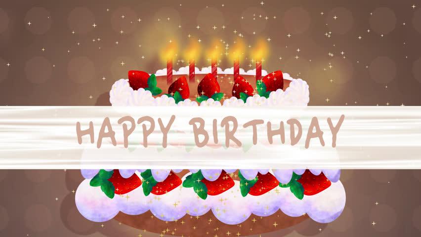 Happy Birthday Holidays Greeting Intro Opener Cartoon Animation Silk Texture Banner Chocolate Sponge Cake Butter Cream Fresh Strawberry