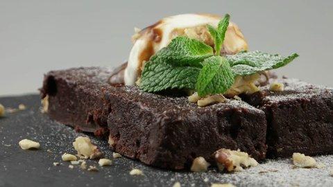 Chocolate brownie with ice cream on top