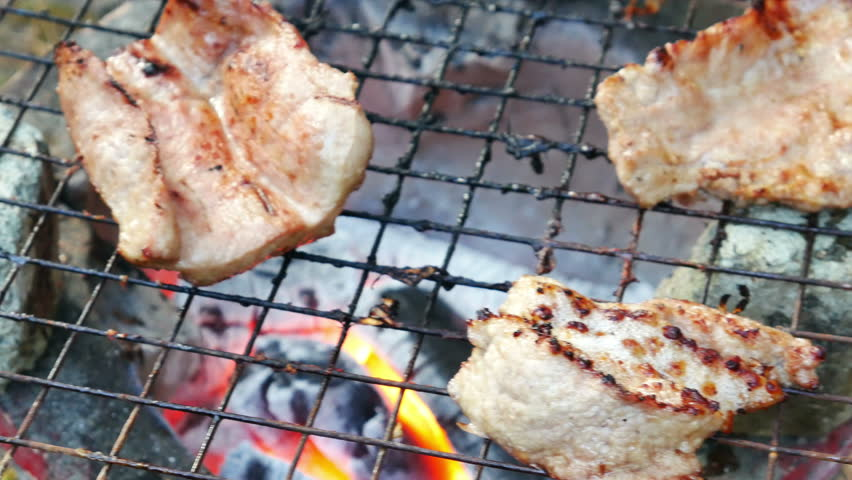 Bar-B-Q or BBQ with kebab cooking. coal grill | Shutterstock HD Video #13042436