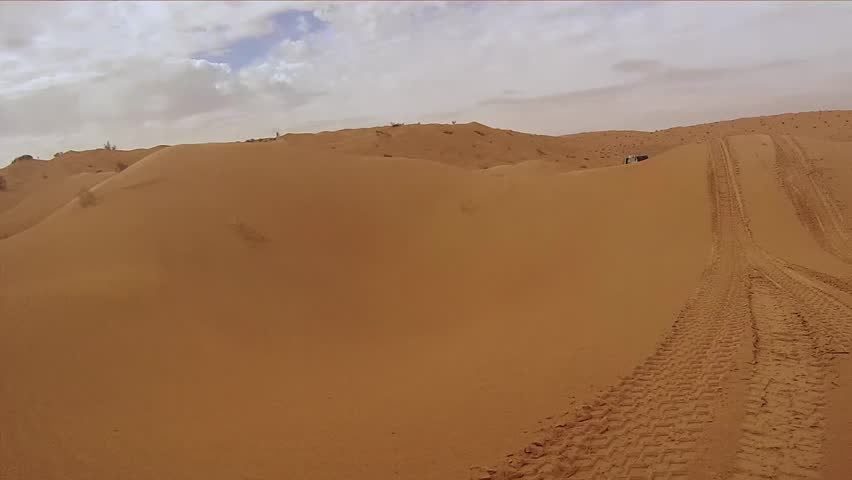 camera car in the sahara desert