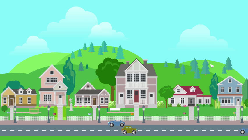 Vector Cartoon City And Highway With Cars. Stock Footage ...