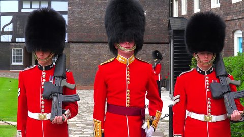 LONDON, ENGLAND - CIRCA 2015 - Beefeater changing of the guard at the Tower Of London in London, England.