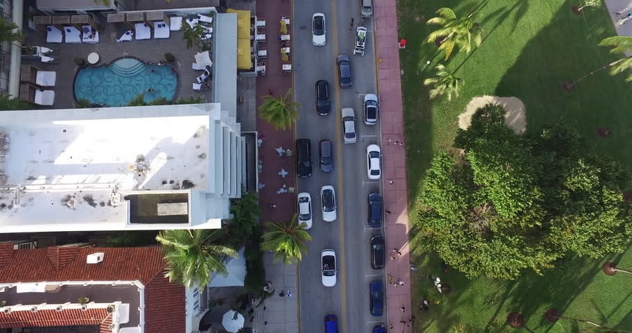 90 Degree aerial of Ocean Drive Miami | Shutterstock HD Video #13079036