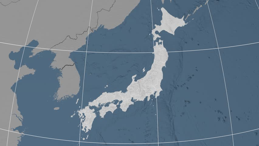Fukuoka Prefecture Extruded On The Elevation Map Of Japan - Japan map data
