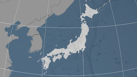 Fukuoka prefecture extruded on the elevation map of Japan. Elevation data on solid colors. Elements of this image furnished by NASA.