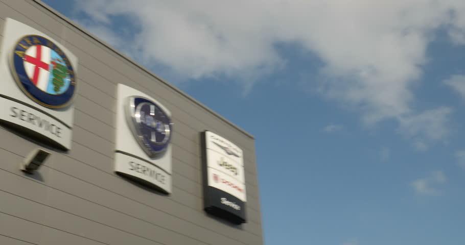 STRASBOURG FRANCE CIRCA Panning To Car Service Dealership - Fiat service