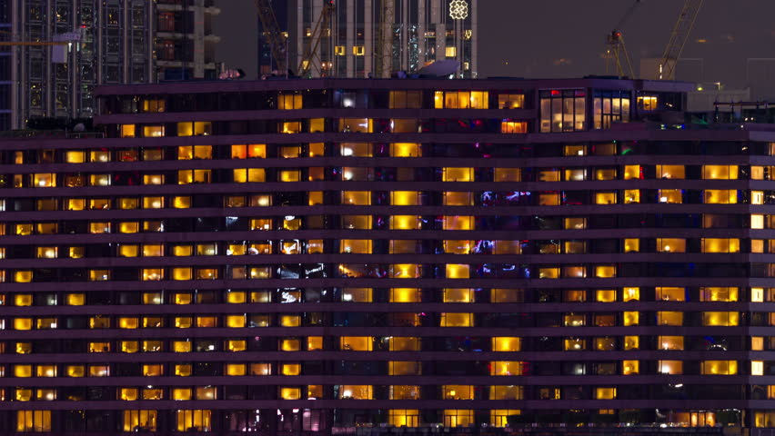 Night Windows In A Condominium Time Lapse Stock Footage Video ...