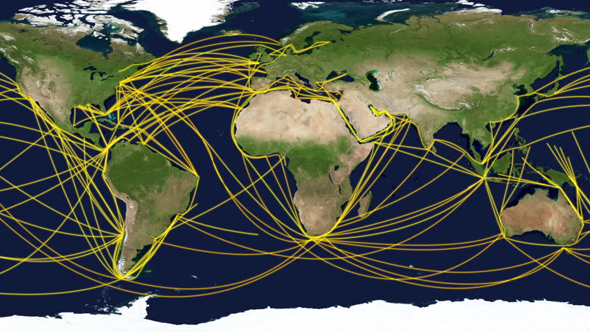 The world trade, global shipping routes of container.