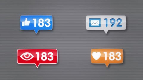 Custom drawn icons representative of popular social media icons, with a number counter. Alpha channel included.
