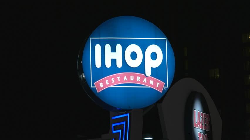 Niagara Falls, Canada - November 30, 2015: IHOP Restaurant Sign Spinning at Night in Niagara Falls.