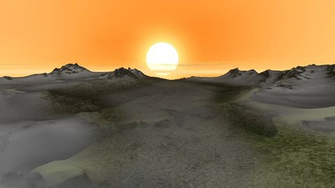 Sunset, a beautiful animation, wonderful view and snowy mountains.
