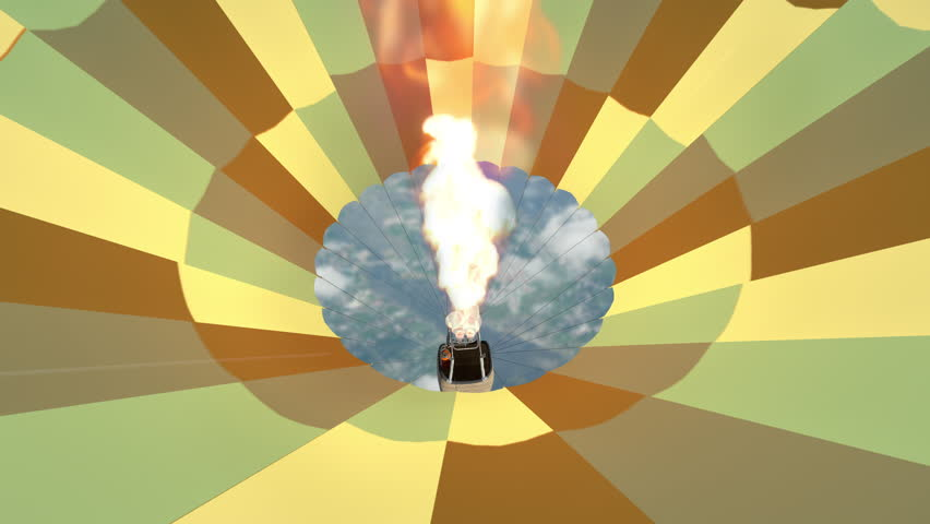 Animation of the burner directing a flame, as seen from inside the hot air balloon,