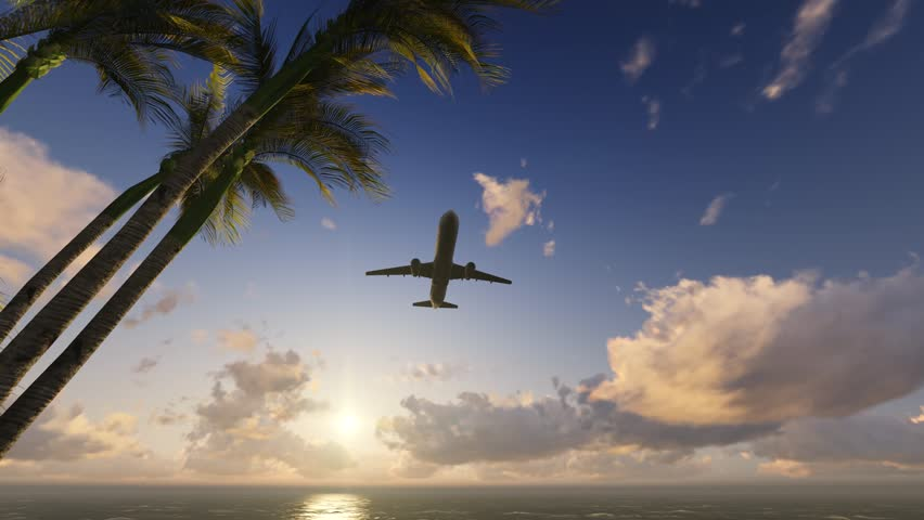 Plane is landing. Flying low over the ocean. In foreground trees palms near water. Against background of sunrise and small cumulus clouds People came to rest Travel as in dreams. Tropical landscape 3d