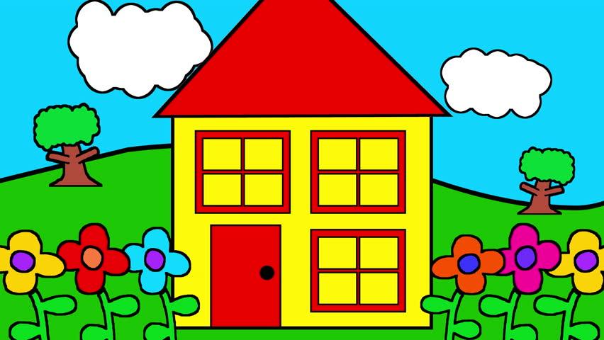 House Childrens Cartoon Kids Toon Stock Footage Video (100 ...