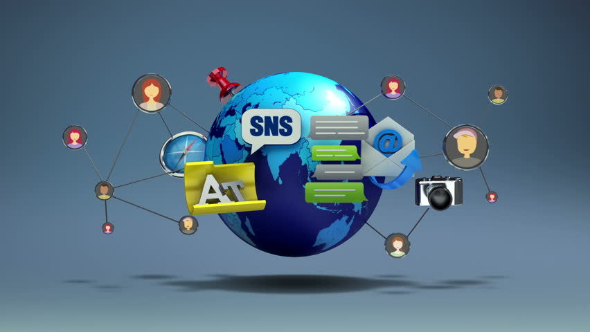 Floating various social network application service contents and global communication(included alpha) | Shutterstock HD Video #13124306