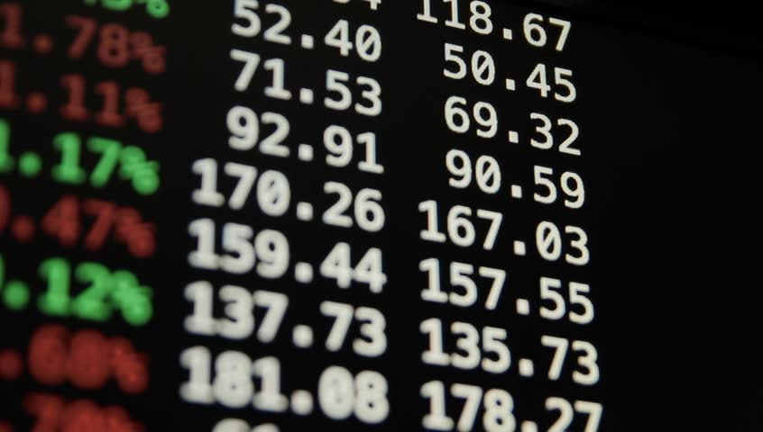 Ungraded: Trading quotes ticker board. Screen shows the change in the price of securities. Information scrolled upwards. Panning shot. Source: Canon EOS, ungraded H.264 from camera. (av11632u) | Shutterstock HD Video #13134626