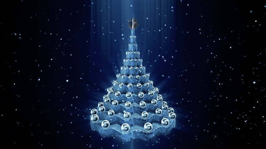 Rotating Christmas Tree At Snow Background Loop Animation