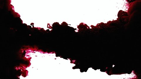 Dark red ink dropping in a water tank, creating a vintage paper texture effect.
