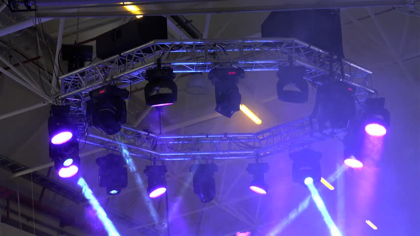 Spectacular light show from the stage lighting rig (moving head, generic  and LED fixtures