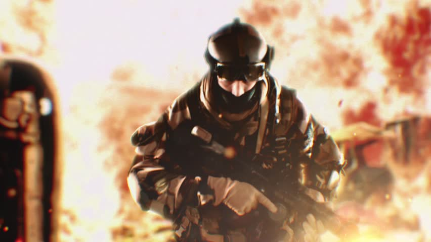 Running soldier in epic slow motion action scene. World in fire. Closeup.