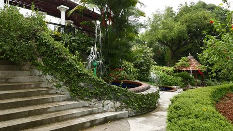 Separated pools with fountains, greenery area, Hibiscus Garden. Camera move by pathway, show fine gardening and decorative trees and shrubs, rose mallow flowers around. Wooden gazebo at end of path