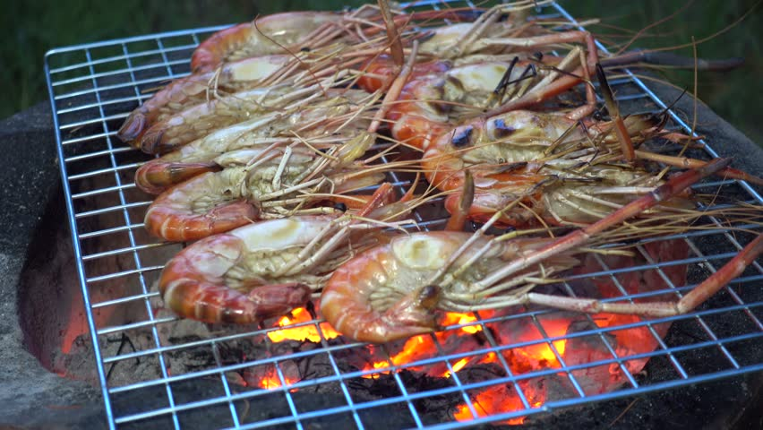 Barbecue grill shrimp on the barbecue grill | Shutterstock HD Video #13309436