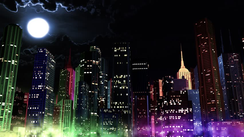 Modern City Lit by Colorful Light Effects at Night Cinema 4K 3D Animation Concept for colorful vibrant happy city lifestyle, New Year's Eve, party and festivals in modern cities. | Shutterstock HD Video #13318136