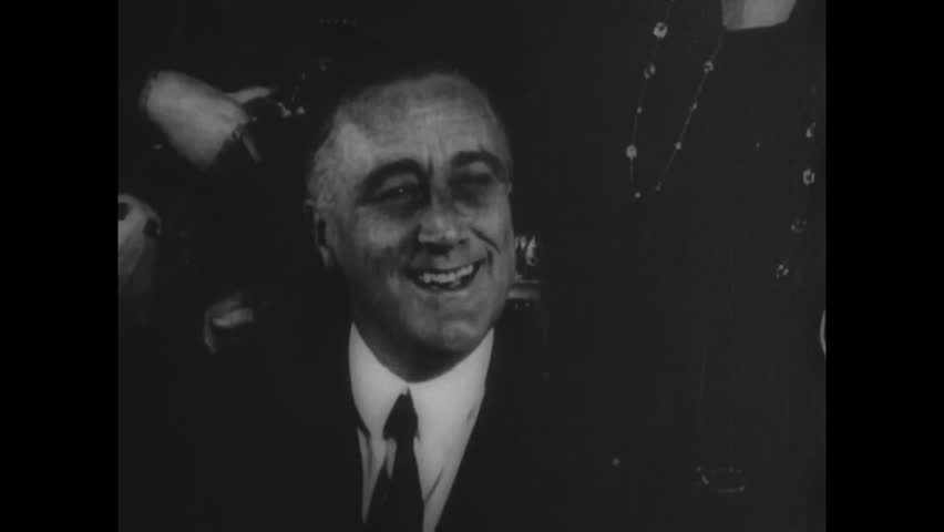 CIRCA 1940s - Scenes from the life of U.S. President Franklin Roosevelt in 1945.