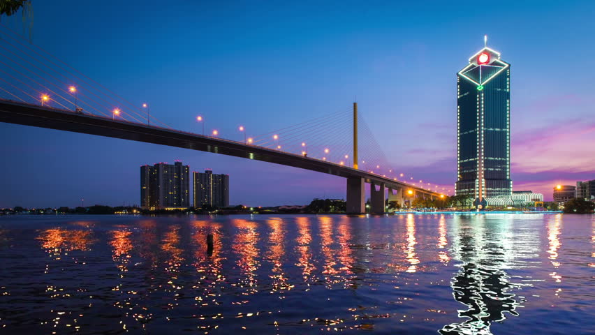 Cinemagraph loop. Motion photo  River view from under the rama IX bridge downtown Bangkok Thailand
