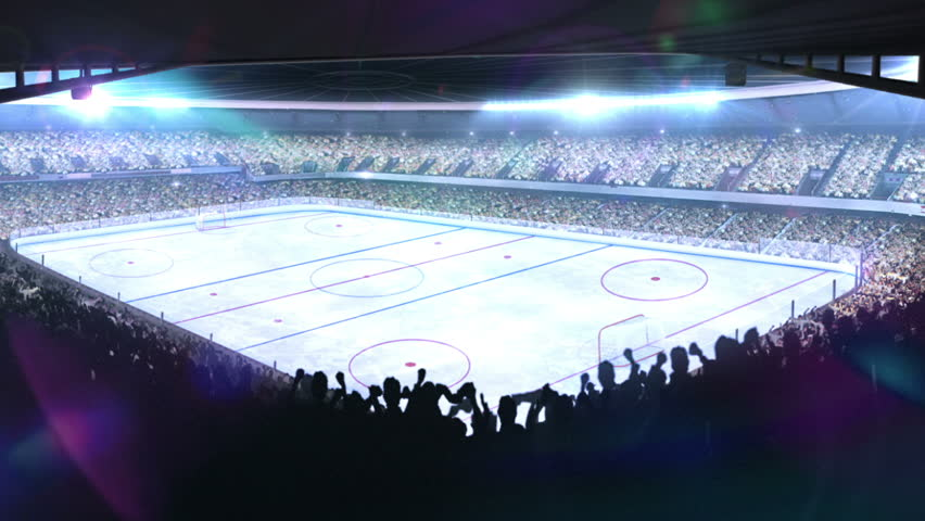 Hockey stadium with glare. Sports event.
