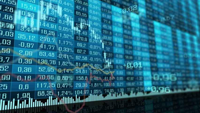 Table and bar graph of stock exchange market indices animation. Abstract animated background.