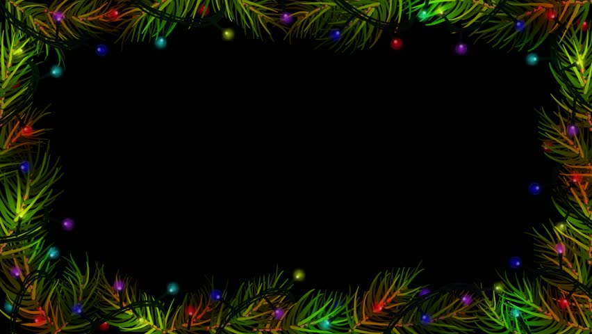 Animation Christmas Lights Spruce Fir Branches Black Color Background Border