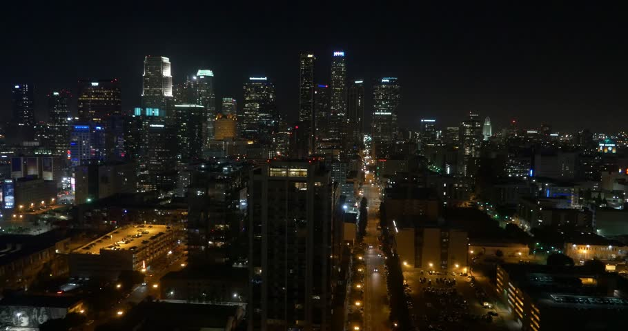 Aerial Shot of Downtown Los Angeles at Night ( Los Angeles- July 2015)