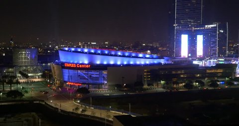 Aerial Shot of Staples Center at night in Los Angeles, California ( Los Angeles- July 2015)