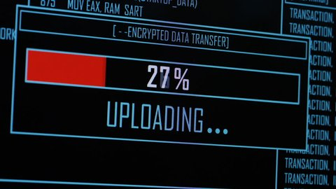 4K Close up of data being uploaded on a computer screen