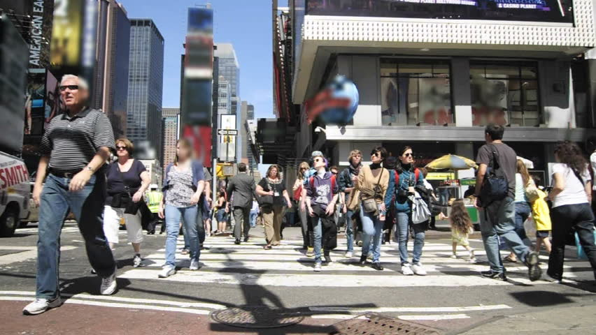 NEW YORK- CIRCA 2009: Timelapse of people in Times Square, New York City circa 2009.