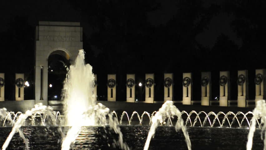 WW II Memorial at night in Washington D.C. circa 2009