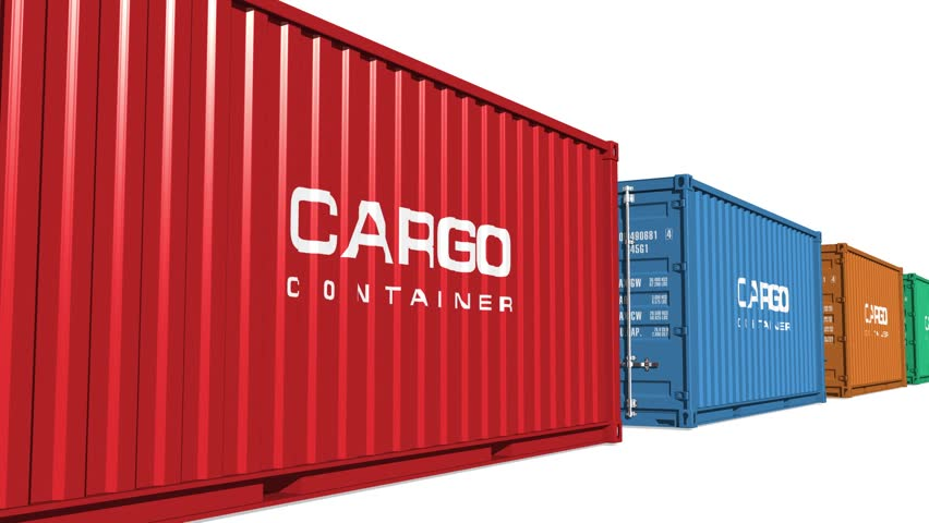 Freight shipping concept: color moving cargo containers