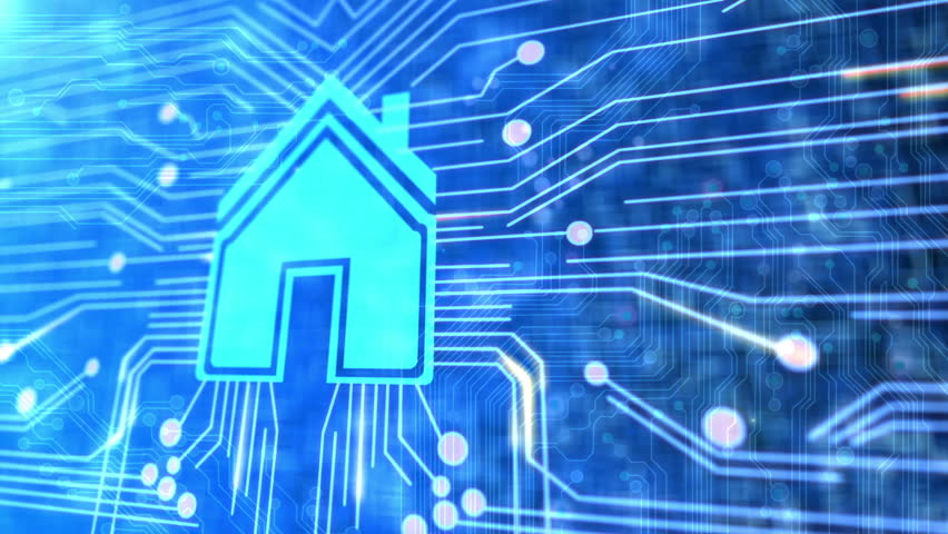 Animated printed circuit board with a house to illustrate smart home  technology.